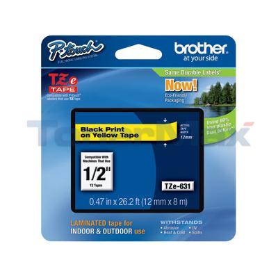 BROTHER TZ LAMINATED TAPE BLACK ON YELLOW 0.47 IN X 26.2 FT
